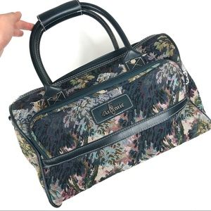 EUC Vintage Turquoise Floral Tapestry Duffel